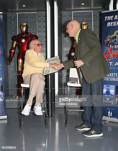 Comic book icon Stan Lee receives a proclamation from Clark County Commissioner Larry Brown at Marvel Avengers STATION at the Treasure Island Hotel...