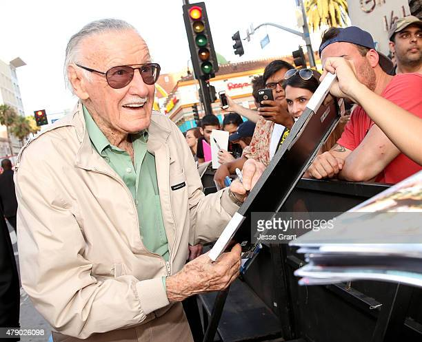Comic book icon Stan Lee signs autographs for fans at the world premiere of Marvel's 'AntMan' at The Dolby Theatre on June 29 2015 in Los Angeles...