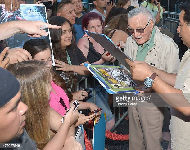 Comic book icon Stan Lee signs autographs with fans at the world premiere of Marvel's 'AntMan' at The Dolby Theatre on June 29 2015 in Los Angeles...