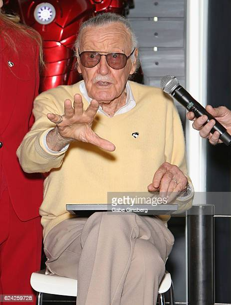 Comic book icon Stan Lee speaks at Marvel Avengers STATION at the Treasure Island Hotel Casino on November 18 2016 in Las Vegas Nevada