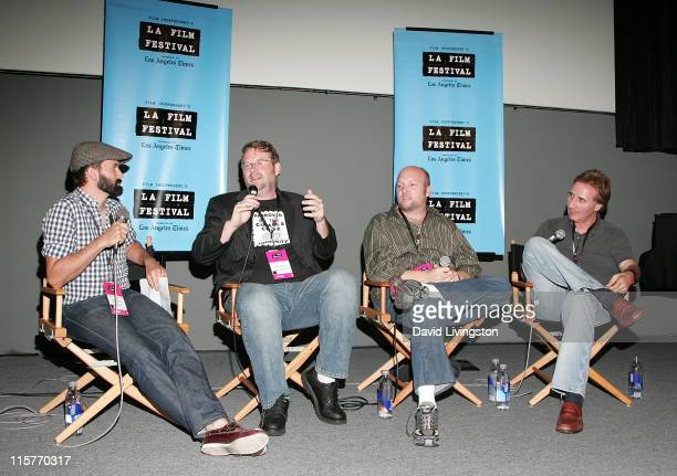 Comic book store owner and panel moderator Dave Pifer writers Josh Olson and Zak Penn and publisher Barry Levine attend the 2009 Los Angeles Film...