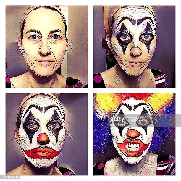 Comic Book Style Creepy Clown Face Paint