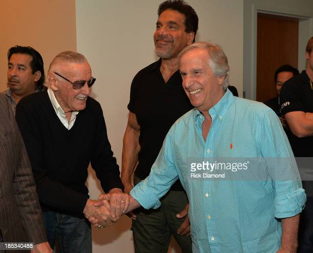 Comic book writer Stan Lee Actors Lou Ferrigno and Henry Winkler attend Nashville Comic Con 2013 at Music City Center on October 18 2013 in Nashville...