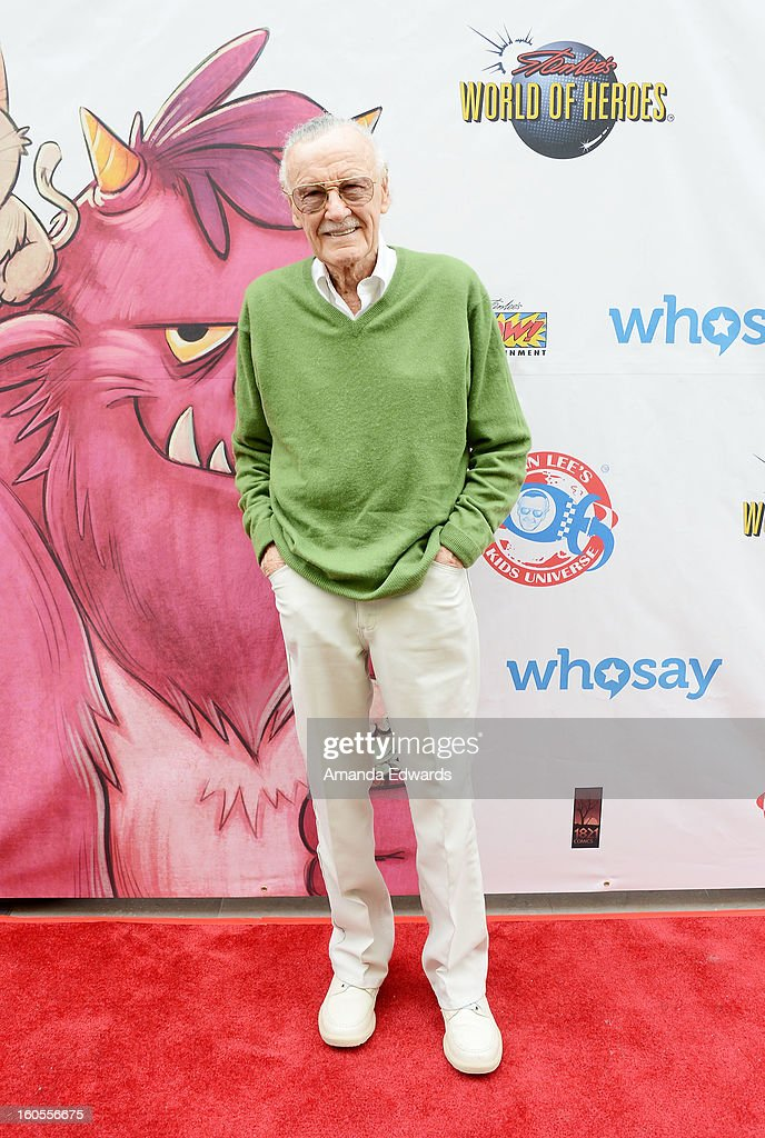 Comic book writer <a gi-track='captionPersonalityLinkClicked' href=/galleries/search?phrase=Stan+Lee&family=editorial&specificpeople=206380 ng-click='$event.stopPropagation()'>Stan Lee</a> arrives at <a gi-track='captionPersonalityLinkClicked' href=/galleries/search?phrase=Stan+Lee&family=editorial&specificpeople=206380 ng-click='$event.stopPropagation()'>Stan Lee</a>'s 'Kids Universe Day' new multi-platform children's books label unveiling at Giggles 'N' Hugs on February 2, 2013 in Century City, California.