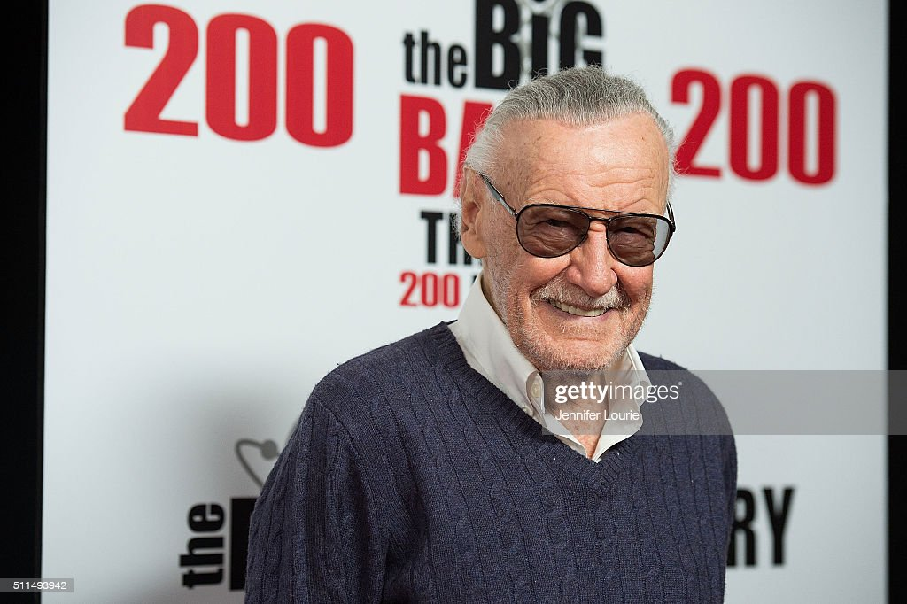 Comic Book Writer Stan Lee arrives at the CBS's 'The Big Bang Theory' Celebrates 200th Episode at the Vibiana on February 20 2016 in Los Angeles...