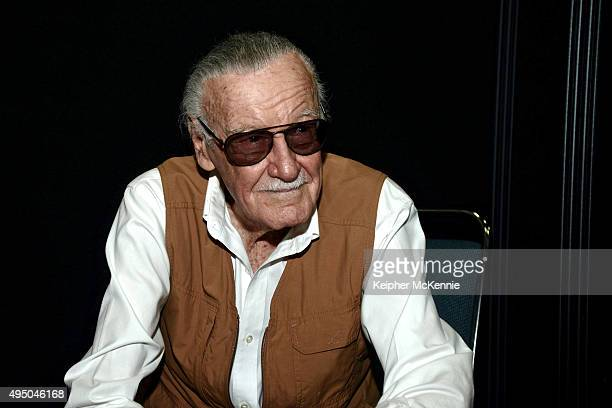 Comic book writer Stan Lee attends Comikaze Expo press conference at Los Angeles Convention Center on October 30 2015 in Los Angeles California
