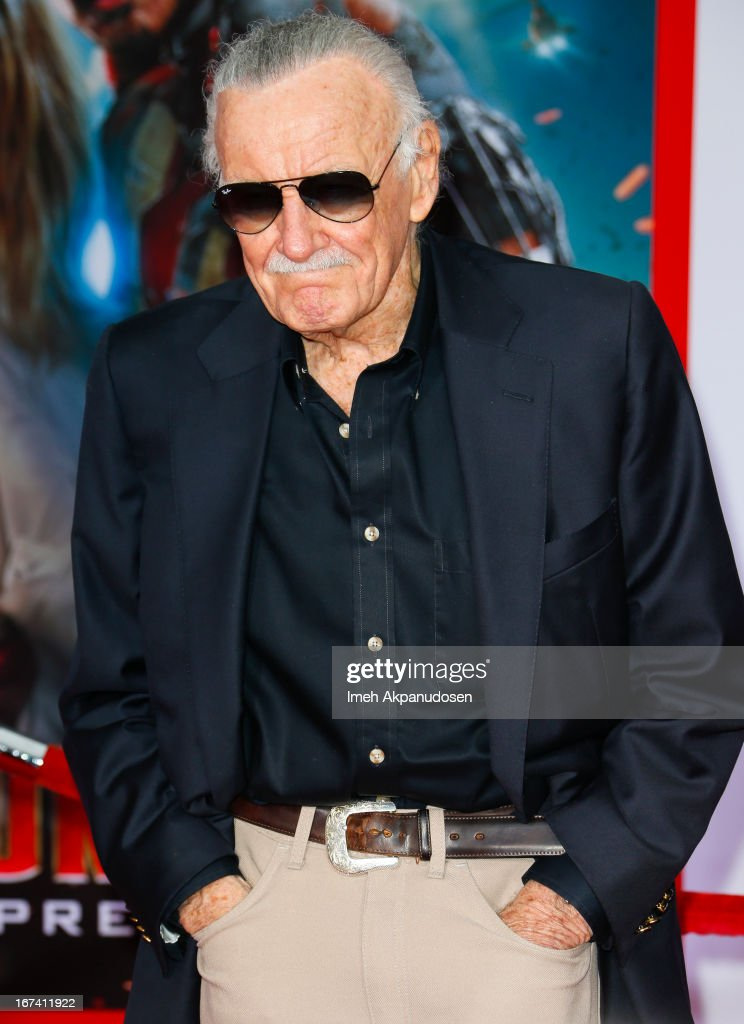 Comic book writer Stan Lee attends the premiere of Walt Disney Pictures' 'Iron Man 3' at the El Capitan Theatre on April 24, 2013 in Hollywood, California.