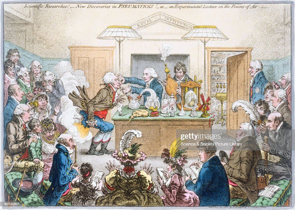 Comic colour etching by James Gillray entitled 'Scientific Researches New Discoveries in Pneumaticks or an Experimental Lecture on the Powers of Air'...