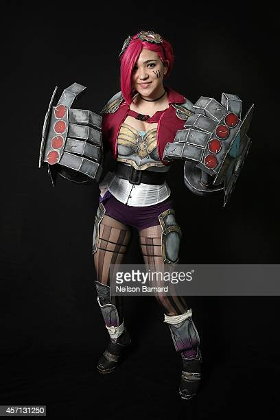 Comic Con attendee Eleanor Miceli poses as Vi from League of Legends during the 2014 New York Comic Con at Jacob Javitz Center on October 12 2014 in...