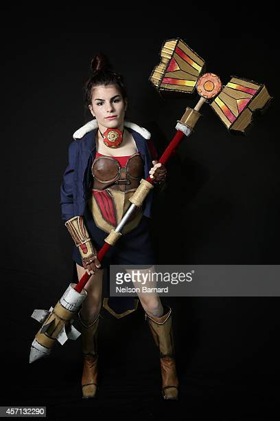 Comic Con attendee Julia Nicolai poses as Jayce from League of Legends during the 2014 New York Comic Con at Jacob Javitz Center on October 12 2014...