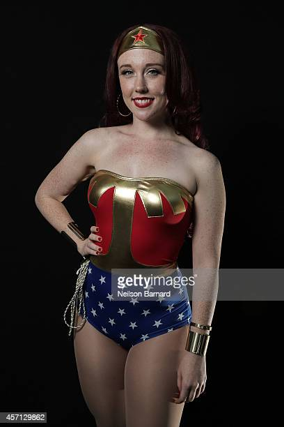 Comic Con attendee Mary Kate McNeill poses as Wonder Woman during the 2014 New York Comic Con at Jacob Javitz Center on October 12 2014 in New York...