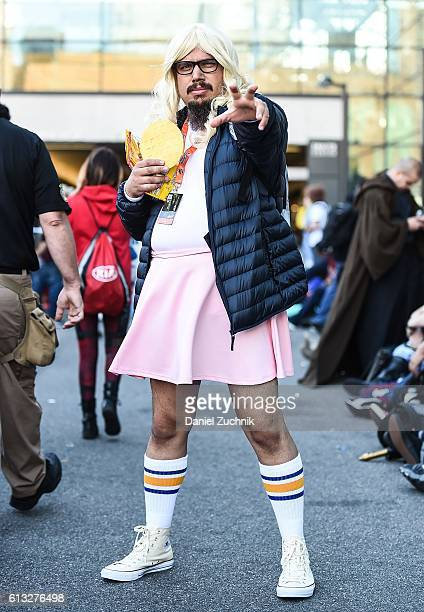 Comic Con attendee poses as Eleven from Stranger Things during the 2016 New York Comic Con Day 2 on October 7 2016 in New York City