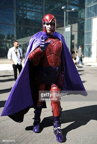 Comic Con attendee poses as Magneto during New York ComicCon 2015 at The Jacob K Javits Convention Center on October 11 2015 in New York City