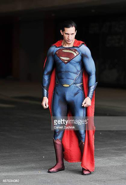 Comic Con attendee poses as Superman during the 2014 New York Comic Con at Jacob Javitz Center on October 10 2014 in New York City