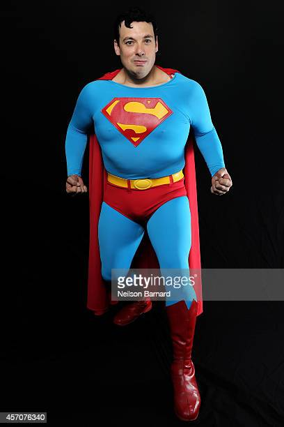 Comic Con attendee poses as Superman from The Lego Movie during the 2014 New York Comic Con at Jacob Javitz Center on October 11 2014 in New York City
