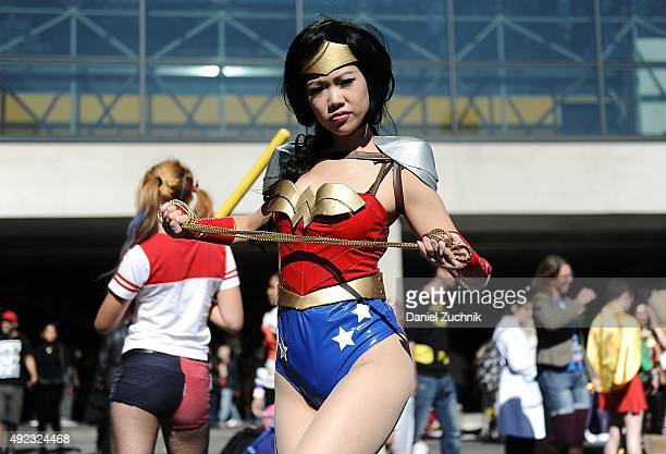 Comic Con attendee poses as Wonderwoman during New York ComicCon 2015 at The Jacob K Javits Convention Center on October 11 2015 in New York City