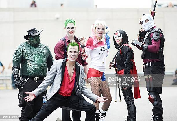 Comic Con attendees pose as members of Suicide Squad during New York ComicCon 2015 at The Jacob K Javits Convention Center on October 9 2015 in New...