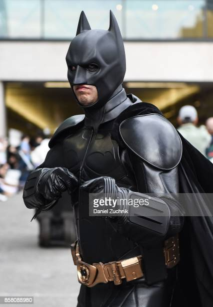 Comic Con cosplayer dressed as Batman poses during 2017 New York Comic Con Day 1 on October 5 2017 in New York City