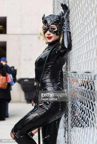 Comic Con cosplayer dressed as Catwoman poses during the 2017 New York Comic Con Day 2 on October 6 2017 in New York City