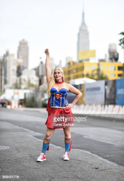 Comic Con cosplayer dressed as SuperGirl poses during the 2017 New York Comic Con Day 4 on October 8 2017 in New York City
