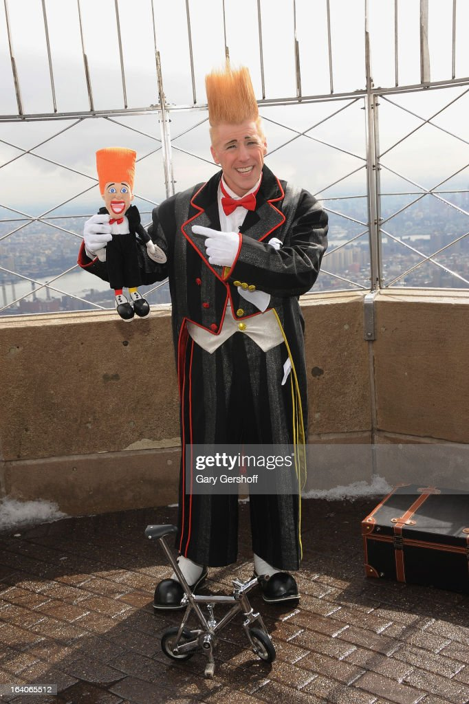 Comic daredevil Bello Nock visits the Observation Deck of The Empire State Building on March 19, 2013 in New York City.