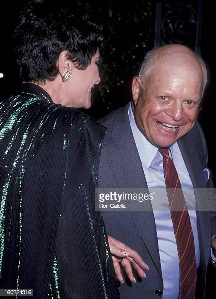 Comic Don Rickles and wife Barbara Sklar attend the birthday party for George Burns on January 11 1986 at Chasen's Restaurant in Beverly Hills...