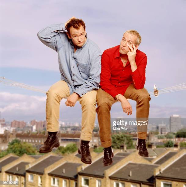 Comic duo Alexander Armstrong and Ben Miller pose for a portrait c 2001in London