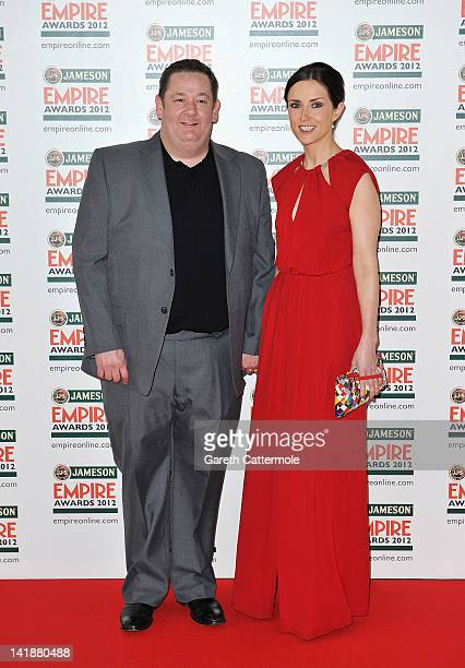 Comic Johnny Vegas with his wife Maia Dunphy attend the 2012 Jameson Empire Awards at the Grosvenor House Hotel on March 25 2012 in London England