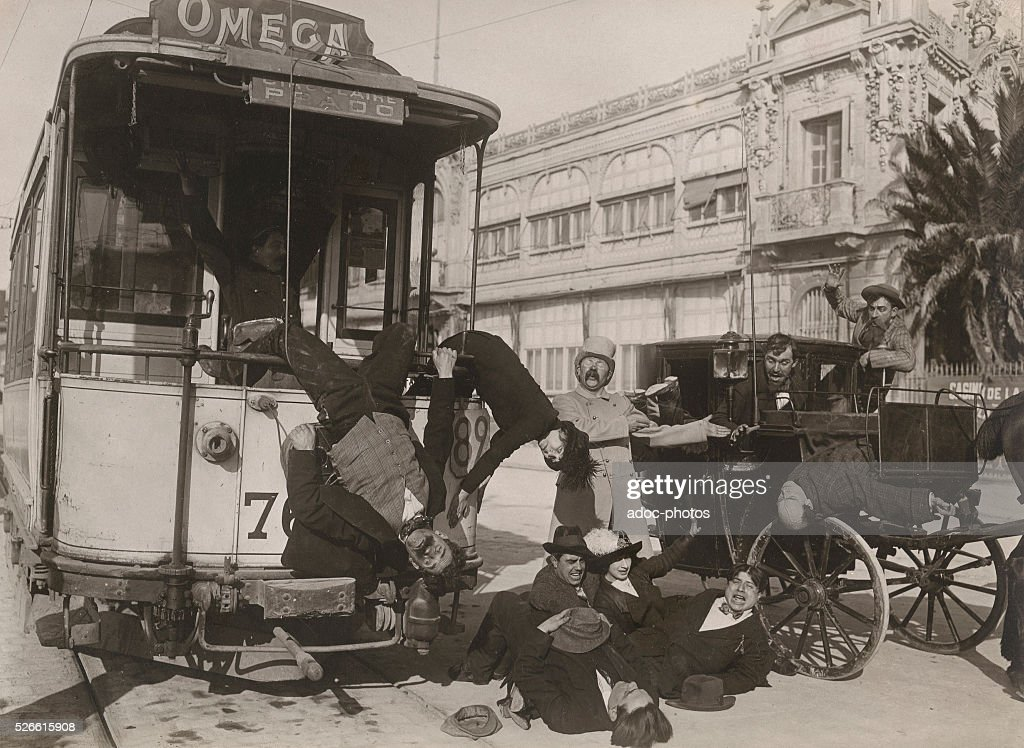 Comic mise-en-scene of a tram accident in a street of Marseille (France). Ca. 1910.
