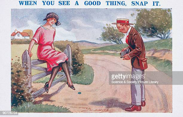 Comic postcard by Reg Maurice showing a young man taking a photograph of a woman sitting on top of a country gate The title is a pun on the word...