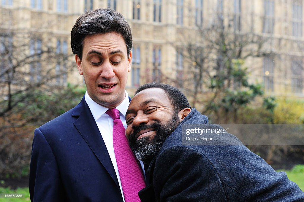 Comic Relief legend <a gi-track='captionPersonalityLinkClicked' href=/galleries/search?phrase=Lenny+Henry&family=editorial&specificpeople=159521 ng-click='$event.stopPropagation()'>Lenny Henry</a> hugs the Leader of the Labour Party, <a gi-track='captionPersonalityLinkClicked' href=/galleries/search?phrase=Ed+Miliband&family=editorial&specificpeople=4376337 ng-click='$event.stopPropagation()'>Ed Miliband</a>, in a short clip that will be shown tonight (Friday 15th March) on 'Comic Relief - Funny for Money', BBC One, 7pm at The Houses Of Parliament March 14, 2013 in London, England.