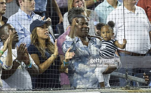 Comic Tracy Morgan with fiancee Megan Wollover and their daughter Maven has a blast as Yanks rout Red Sox 133 at The Stadium
