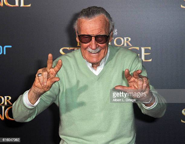 Comicbook icon Stan Lee arrives for the Premiere Of Disney And Marvel Studios' 'Doctor Strange' held at the El Capitan Theatre on October 20 2016 in...