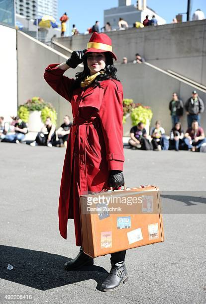 ComicCon attendee poses as Carmen Sandiego during New York ComicCon 2015 at The Jacob K Javits Convention Center on October 10 2015 in New York City