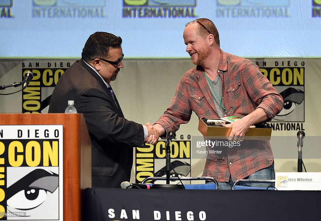 ComicCon executive David Glanzer presents writerdirector Joss Whedon with the Icon Award onstage at Dark Horse An Interview with Joss Whedon during...