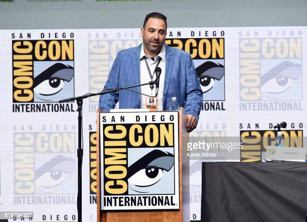 ComicCon International Director of Programming Eddie Ibrahim speaks onstage at the 20th Century FOX panel during ComicCon International 2017 at San...