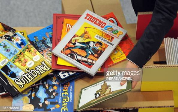 Comics are displayed at the 39th edition of Angouleme world comic strip festival headed by American Art Spiegelman on the opening day on January 26...