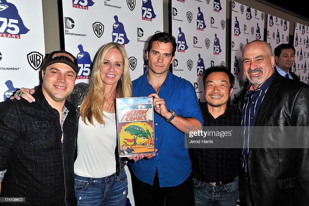 DC Comics Geoff Johns, DC Entertainment President Diane Nelson, actor <a gi-track='captionPersonalityLinkClicked' href=/galleries/search?phrase=Henry+Cavill&family=editorial&specificpeople=3767741 ng-click='$event.stopPropagation()'>Henry Cavill</a>, DC Entertainment co-publisher Jim Lee and DC Entertainment co-publisher Dan DiDio arrive at DC Entertainment and Warner Bros. host Superman 75 party at San Diego Comic-Con at Hard Rock Hotel San Diego on July 19, 2013 in San Diego, California. Guests at the Superman 75 celebration Friday night at the Hard Rock Hotel's Float Bar in downtown San Diego were given a rare treat, an audience with the comic book that started it all – Action Comics #1. The issue was loaned to DC Entertainment by White Stripes front man Jack White as part of the tribute to 75 years of the Superman character.