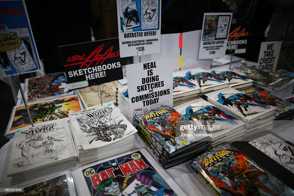 Comics on a stall are available to buy at the London Super Comic Convention at the ExCeL Centre on February 23, 2013 in London, England. Enthusiasts at the Comic Convention are encouraged to wear a costume of their favourite comic character and flock to the ExCeL to gather all the latest news in the world of comics, manga, anime, film, cosplay, games and cult fiction.