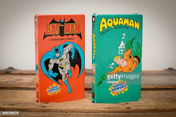 DC Comics VHS Movie Tapes featuring Batman and Aquaman
