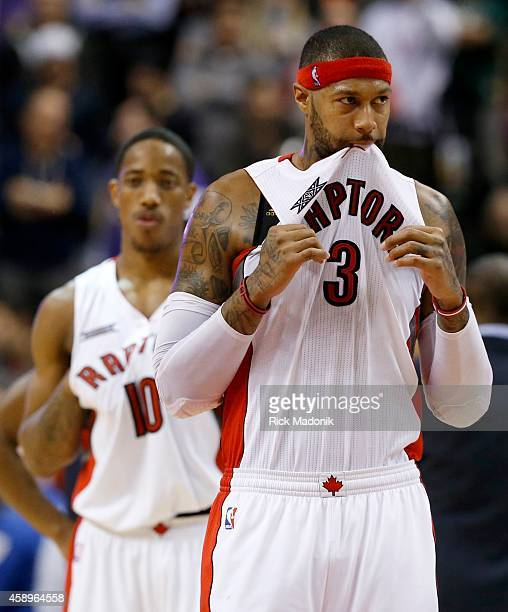 TORONTO NOVEMBER 13 Coming out of the timeouts with a win still possible the faces of team members told the story James Johnson tugs on his top and...