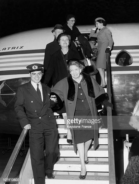 Coming To Visit Her New Beauty Saloon Elizabeth Arden Arrives At Milan Airport On February 1962