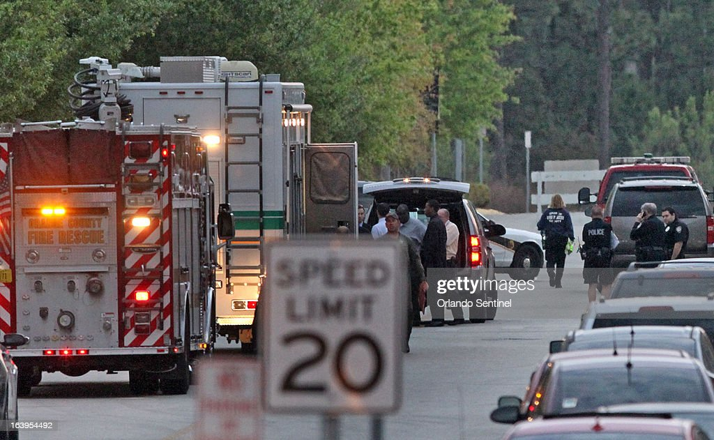 A command post is in full operation at University of Central Florida, Monday, March 18, 2013, in Orlando, after a person was found dead on campus from what appeared to be a self-inflicted gunshot wound.