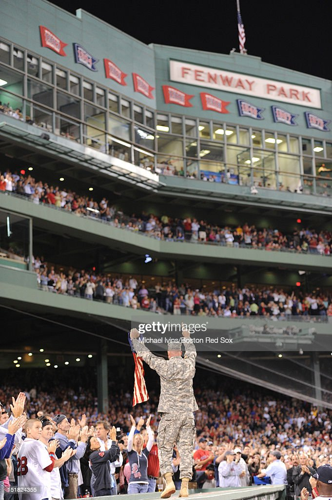 Command Sergeant Major Brian Branley of the Army National Guard was honored during the 'Walk Off A Hero' ceremony in the fourth inning of a game between the Boston Red Sox and the New York Yankees on September 11, 2012 at Fenway Park in Boston, Massachusetts.