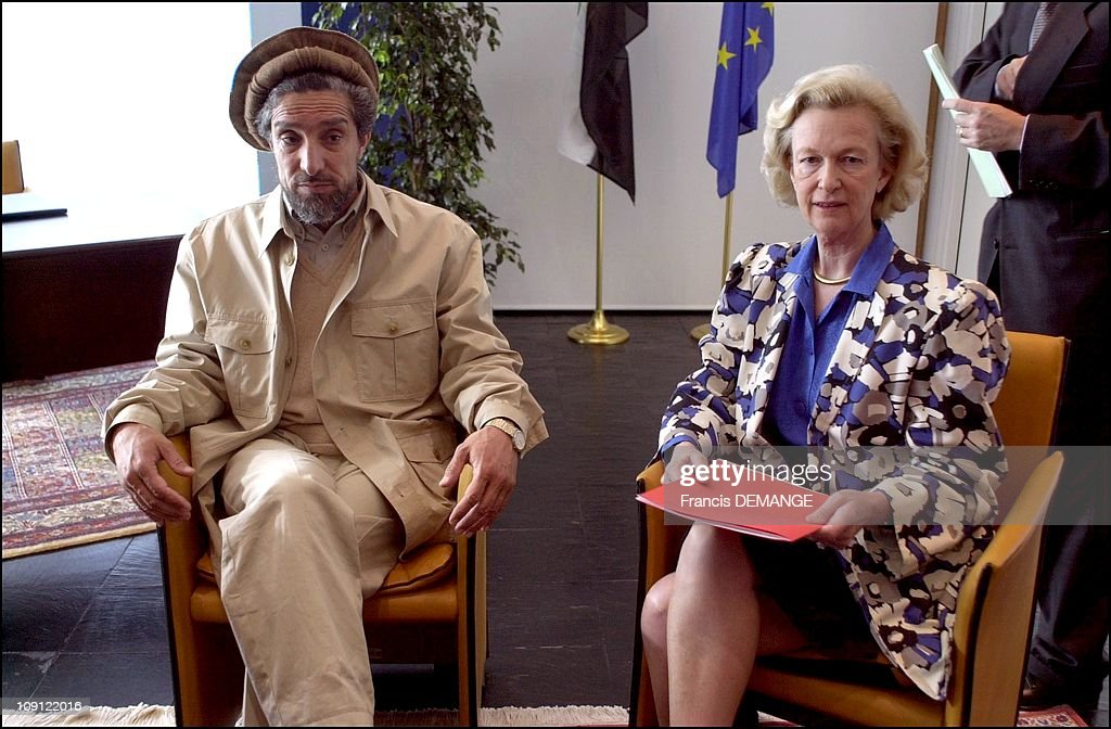 Commandant Massoud At The European Parliament On May 4Th, 2001 In Strasbourg, France. With Nicole Fontaine Pdt. Of The Parliamant.