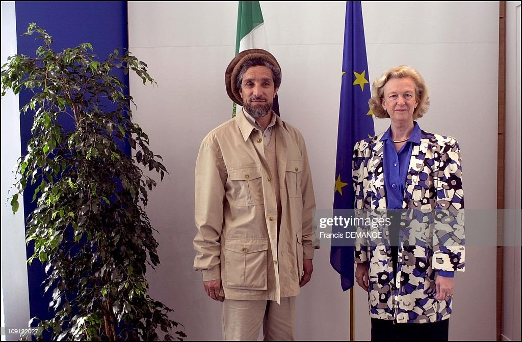 Commandant Massoud At The European Parliament On May 4Th, 2001 In Strasbourg, France. Nicole Fontaine, Pdt. Of The Parliamant (Right).