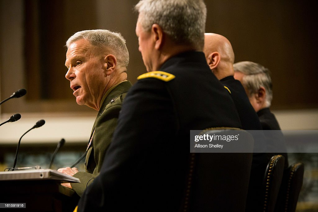 Commandant of the Marine Corps Gen. James Amos speaks as defense department officials testify before the Senate Armed Services Committee on the impacts of sequestration and/or a full-year continuing resolution on the Defense Department, n Capitol Hill February 12, 2013 in Washington, DC. In order to pay down the deficit the cuts are designed to force savings of $1.2 trillion through 2021.