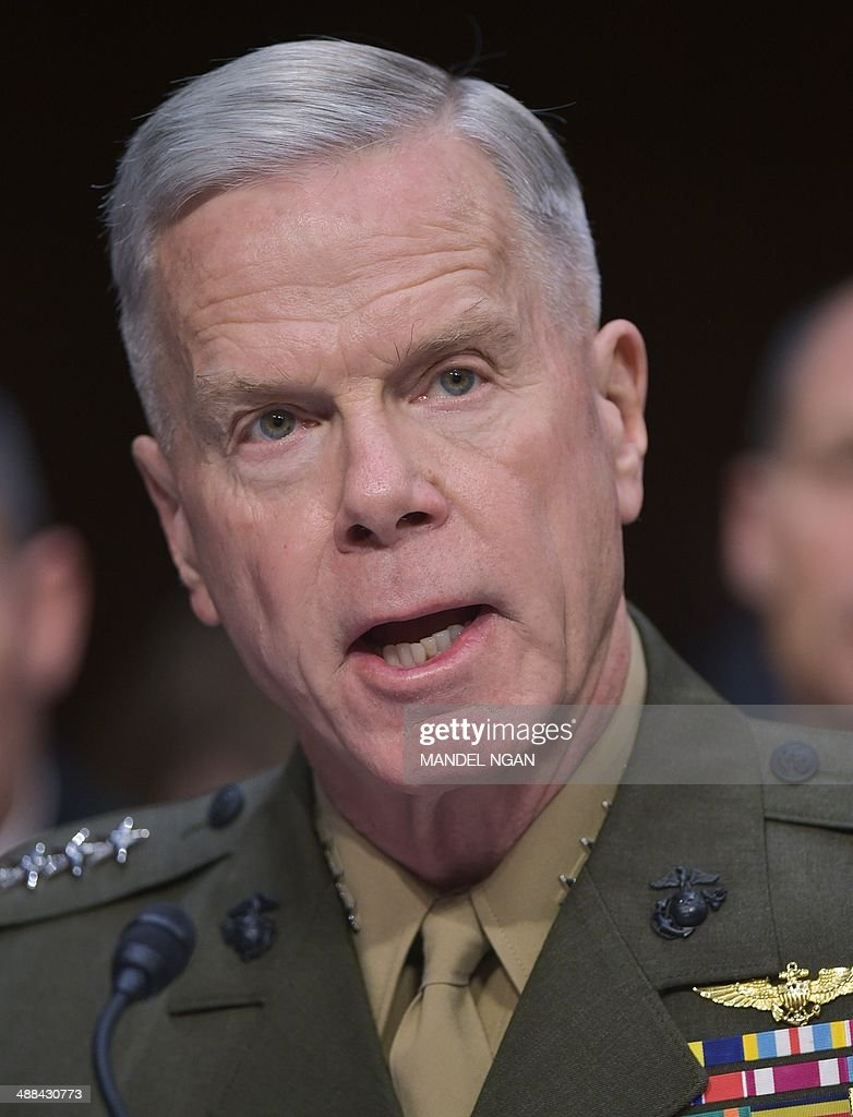 Commandant of the Marine Corps Gen. James Amos (L) testifies before the Senate Armed Services Committee on Defense Department proposals relating to military compensation in the Hart Senate Office Building on Capitol Hill on May 6, 2014 in Washington, DC. AFP PHOTO/Mandel NGAN