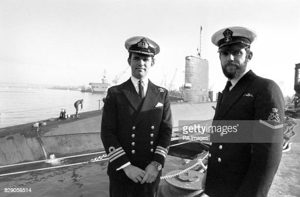Commander Chris WrefordBrown 37 from Modbury near Plymouth captain of nuclear powered fleet submarine HMS Conqueror and PO Graham Libby from...