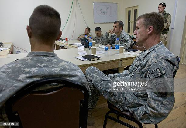 Commander General Stanley A McChrystal meets with high ranking military personnel October 7 2009 at the forward operating base Walton outside of...